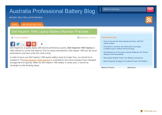 Best practices for maintain Dell Inspiron 1545 Laptop Battery
