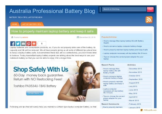 Properly maintain laptop battery and keep it safe guide
