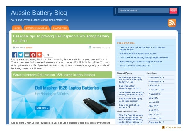 Ways to increase Dell inspiron 1525 laptop battery life
