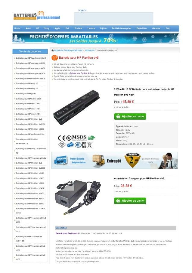 Home Asus HP Sony Apple Dell Toshiba Lenovo Fujitsu Profil de l'entreprise Expédition Garantie Faq 5200mAh 10.8V Batterie ...