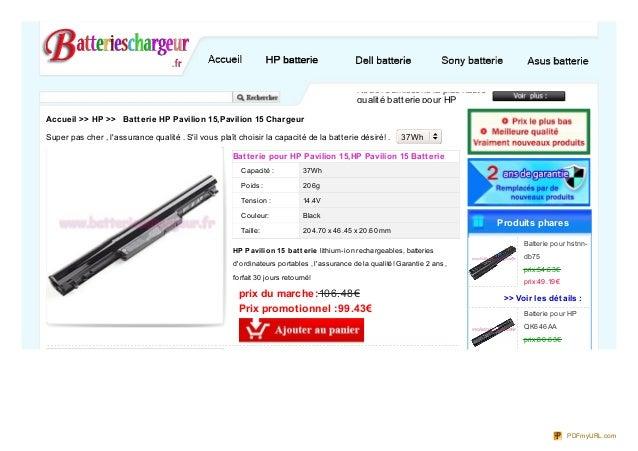 Capacité : Poids: Tension : Couleur: Taille: Batterie pour HP Pavilion 15,HP Pavilion 15 Batterie 37Wh 206g 14.4V Black 20...