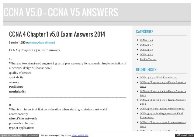 CCNA V5.0 - CCNA V5 ANSWERS CCNA 4 Chapter 1 v5.0 Exam Answers 2014 December 11, 2013 by quocvuong · Leave a Comment  CCNA...