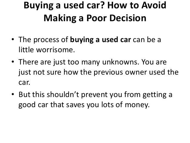 essay on buying a used car