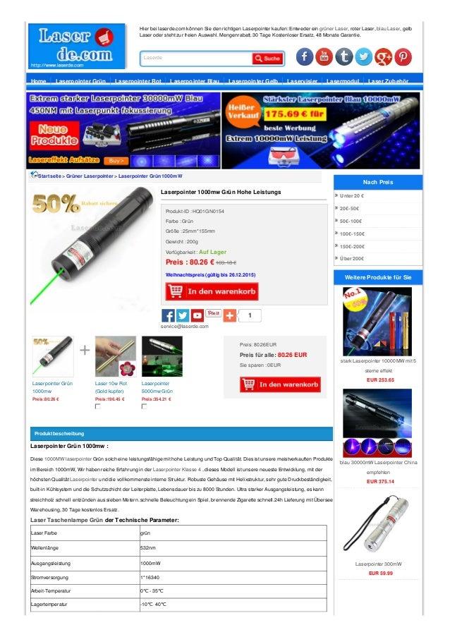 Hier bei laserde.com können Sie den richtigen Laserpointer kaufen: Entweder ein grüner Laser, roter Laser, blau Laser, gel...