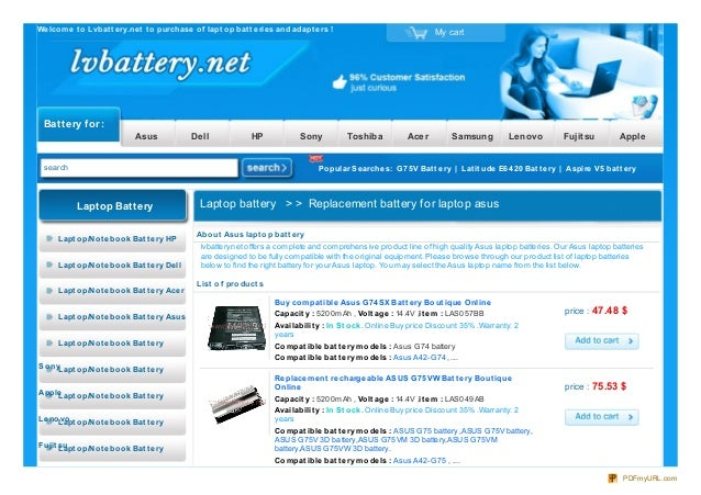 Welcome t o Lvbat t ery.net t o purchase of lapt op bat t eries and adapt ers ! My cart Battery for : Asus Dell HP Sony To...