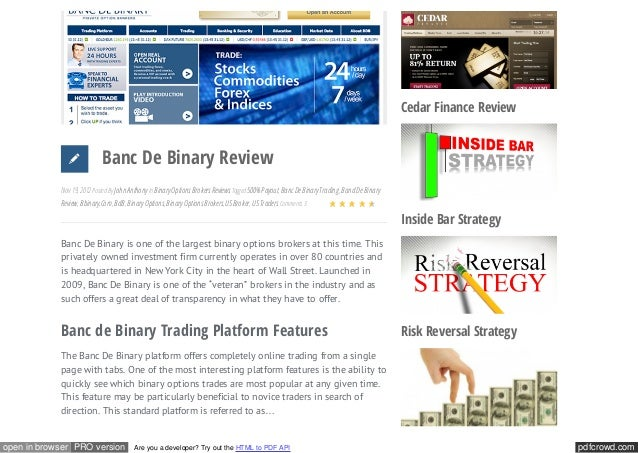 binary options scams cedar finance review