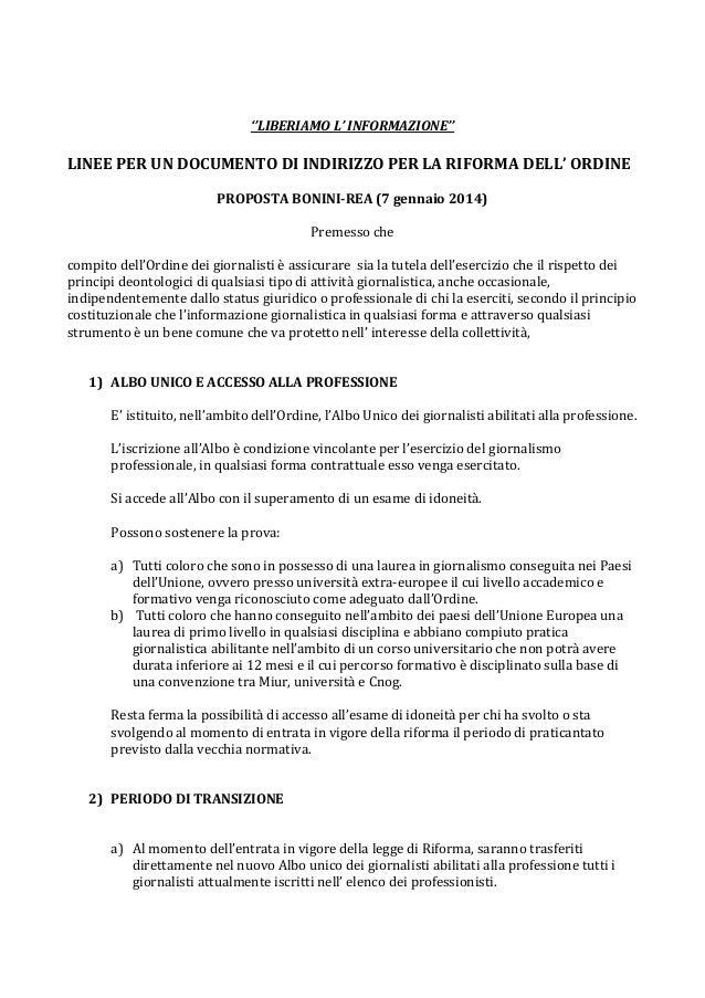 La proposta di riforma dell'Ordine dei Giornalisti di Liberiamo l'informazione
