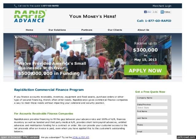 Www rapidadvance com_commercial_finance_program