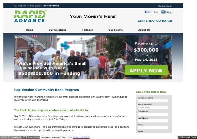 Www rapidadvance com_community_bank_program