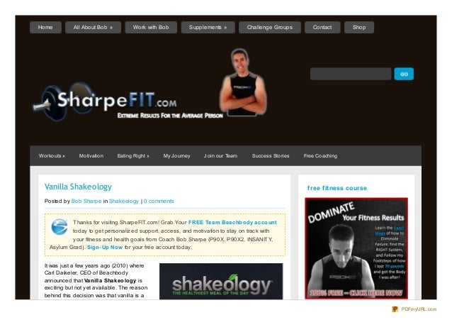 Vanilla ShakeologyPosted by Bob Sharpe in Shakeology | 0 commentsThanks for visiting SharpeFIT.com! Grab Your FREE Team Be...