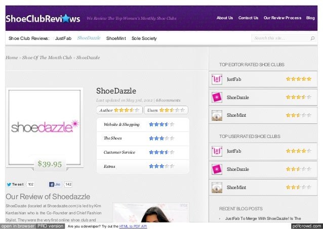 We Review The Top Women's Monthly Shoe Clubs  Shoe Club Reviews:  JustFab  ShoeDazzle  ShoeMint  About Us  Contact Us  Sol...