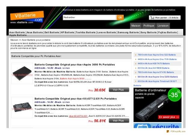 Rechercher Mon panier : 0 Article Maison Politique Livraison Contactez Bienvenue à www.vbatterie.com magasin de batterie d...