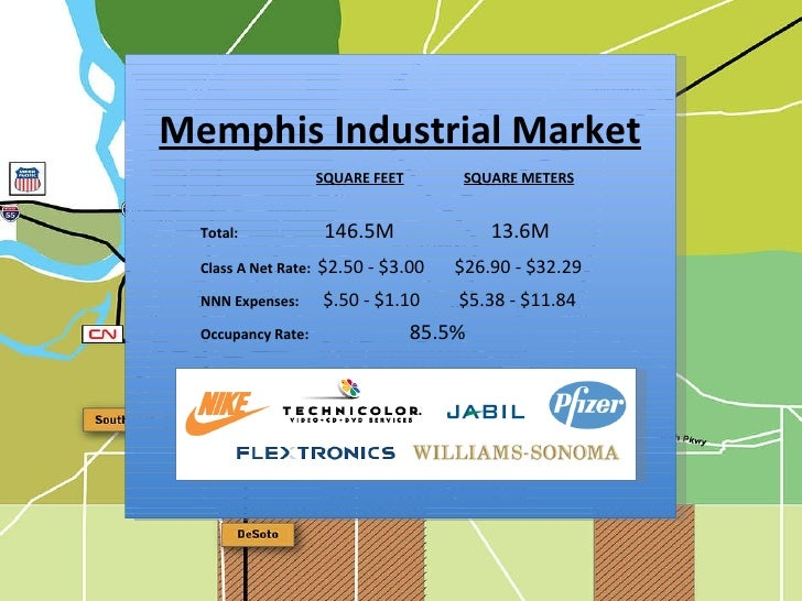 z Memphis Industrial Market Total:     146.5M  13.6M Occupancy Rate:  85.5%  Class A Net Rate:   $2.50 - $3.00   $26.90 - ...