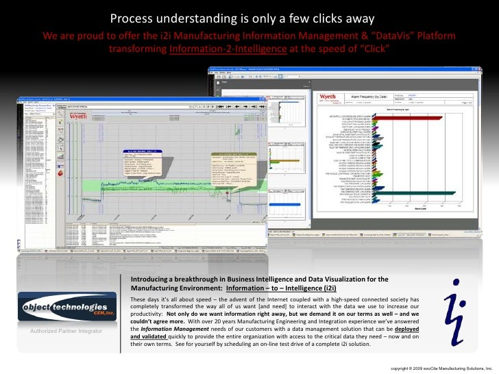 """Process understanding is only a few clicks away     We are proud to offer the i2i Manufacturing Information Management & """"..."""