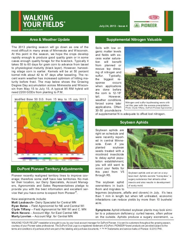 Northern Minnesota and northern Wisconsin Walking Your Fields newsletter-July