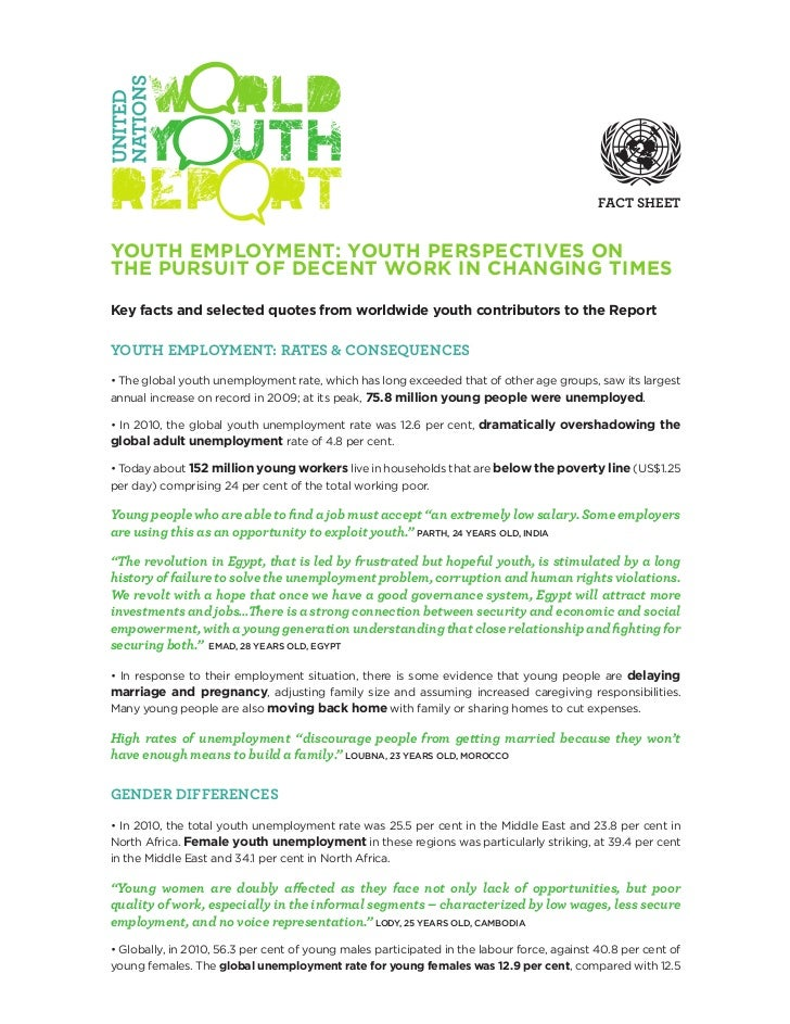 FACT SHEETYOUTH EMPLOYMENT: YOUTH PERSPECTIVES ONTHE PURSUIT OF DECENT WORK IN CHANGING TIMESKey facts and selected quotes...