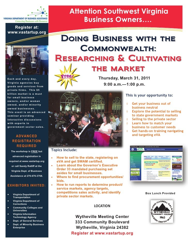 Wytheville - Researching and Cultivating Government Procurement Markets Workshop March 31, 2011
