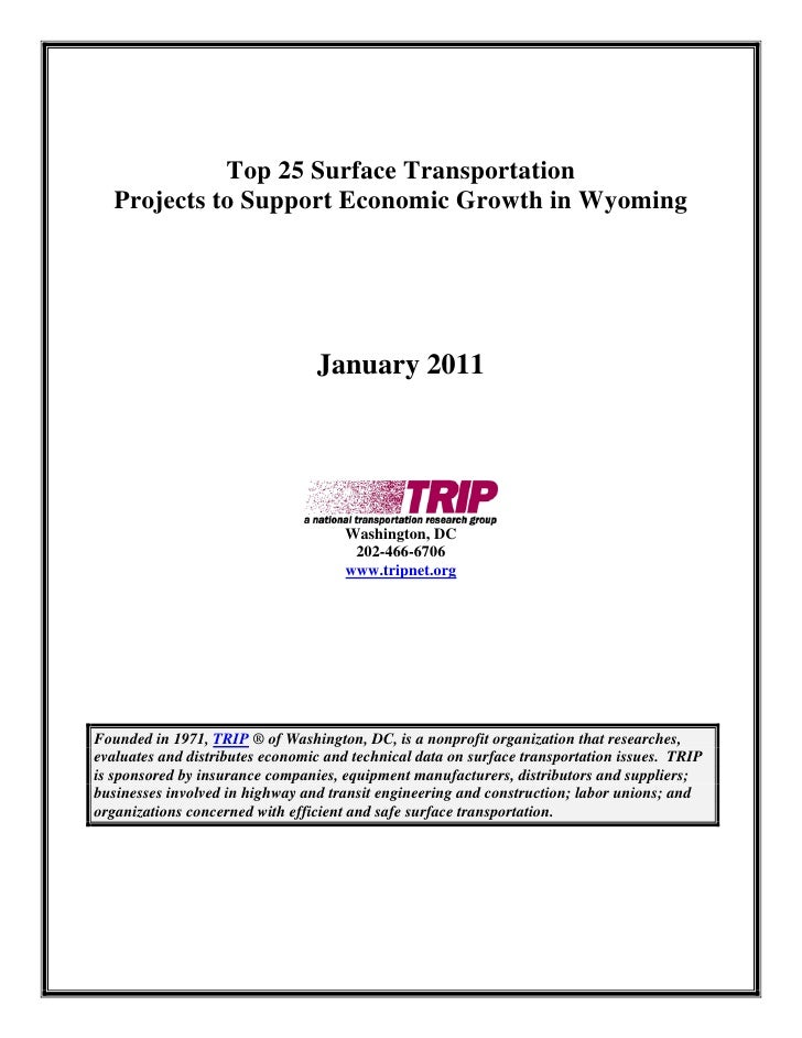 Top 25 Surface Transportation   Projects to Support Economic Growth in Wyoming                                      Januar...
