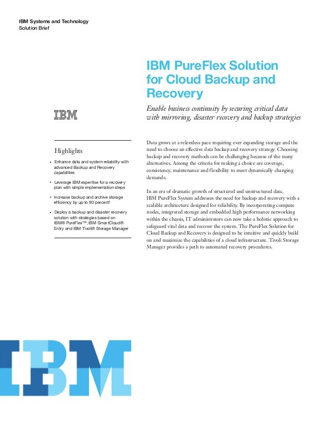 IBM PureFlex Solution for Cloud Backup and Recovery