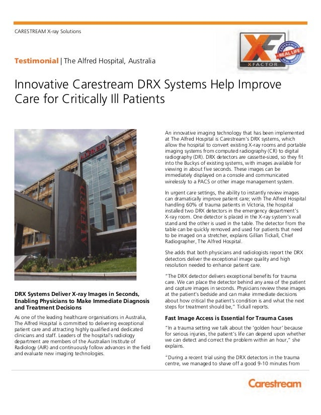 Innovative Carestream DRX Systems Help Improve Care for Critically Ill Patients