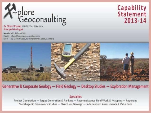 X-plore Geoconsulting Capability Statement 2013-14