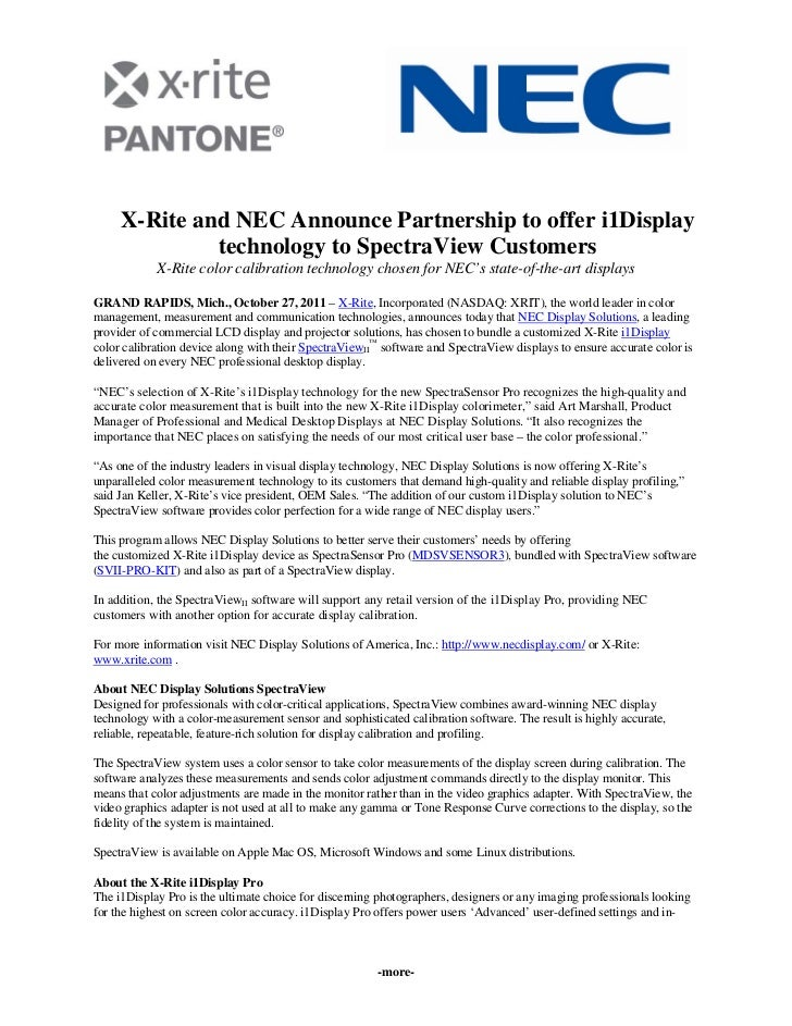 X rite and nec announce partnership to offer i1 display technology to spectraview customers
