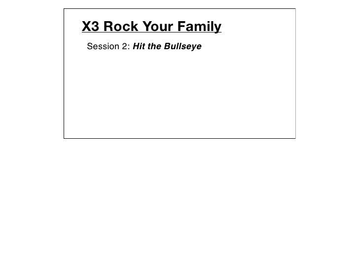 X3 Rock Your FamilySession 2: Hit the Bullseye