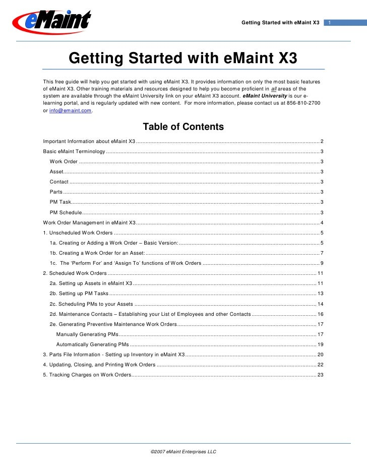 Getting Started with eMaint X3                        1                   Getting Started with eMaint X3 This free guide w...