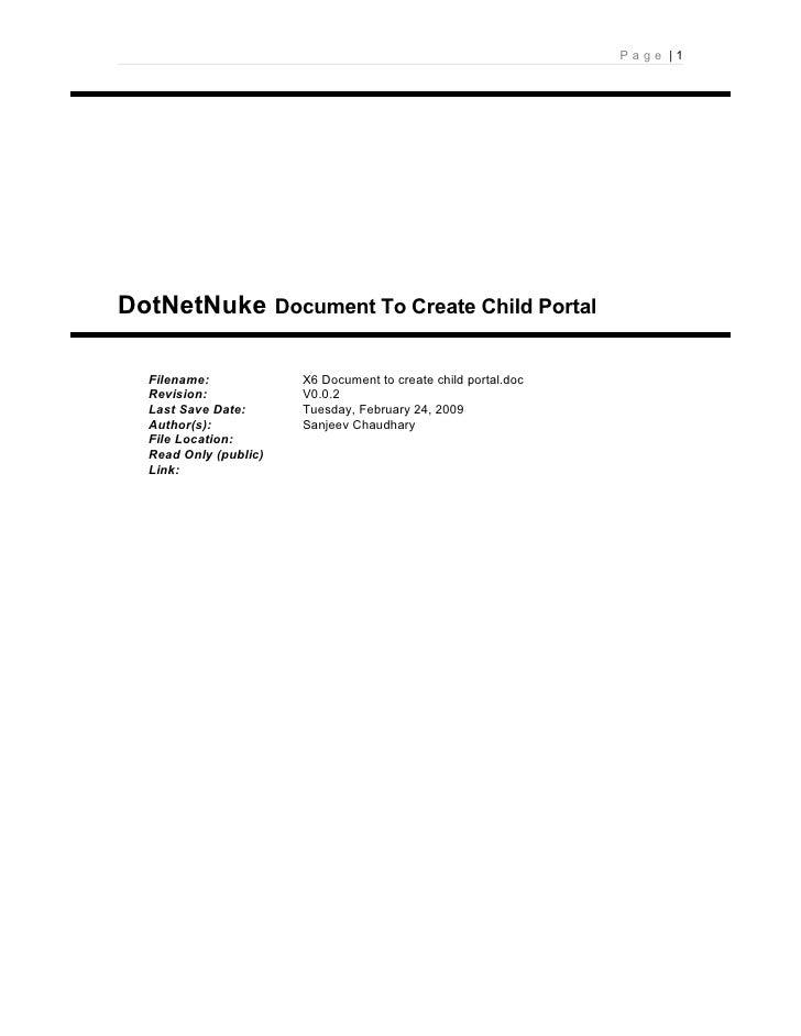 DotNet Nuke Document To Create Child Portal