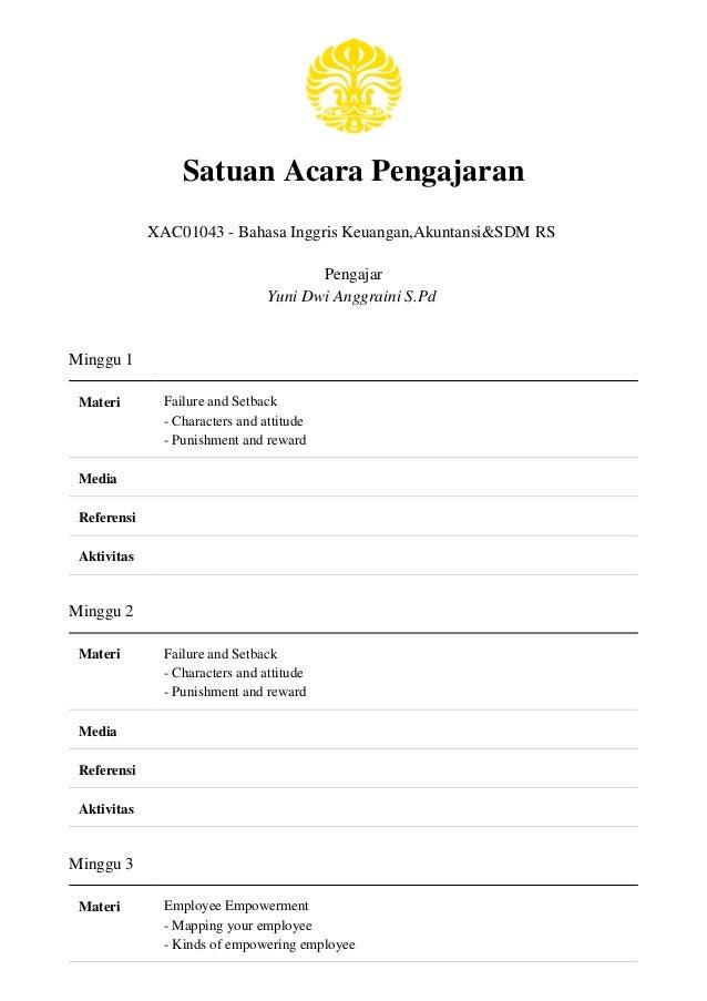 Satuan Acara Pengajaran XAC01043 - Bahasa Inggris Keuangan,Akuntansi&SDM RS Pengajar Yuni Dwi Anggraini S.Pd Minggu 1 Mate...