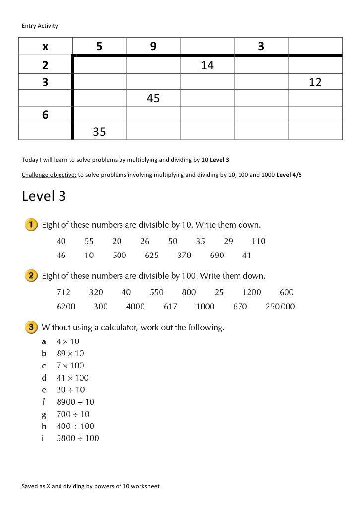 X and dividing by powers of 10 worksheet