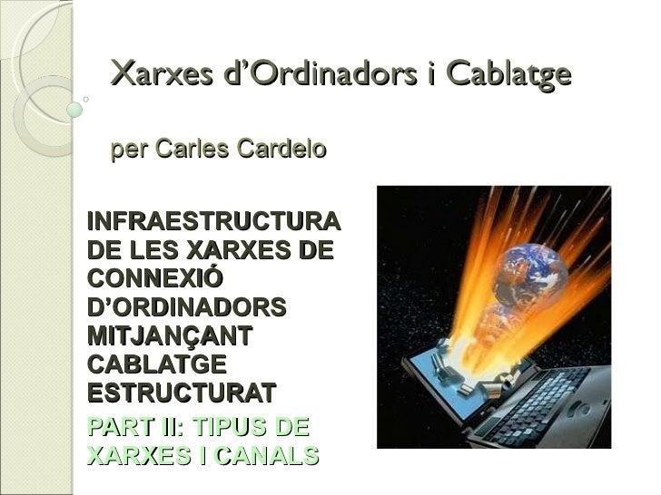 Xarxes d'Ordinadors i Cablatge per Carles Cardelo INFRAESTRUCTURA DE LES XARXES DE CONNEXIÓ D'ORDINADORS MITJANÇANT CABLAT...