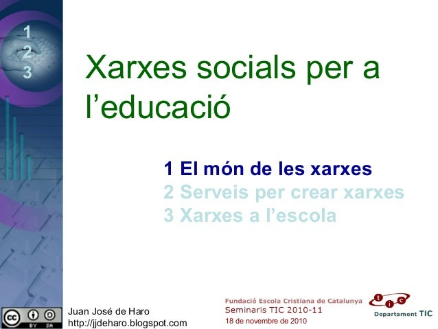 1 2 3 Xarxes socials per a l'educació 1 El món de les xarxes 2 Serveis per crear xarxes 3 Xarxes a l'escola Juan José de H...