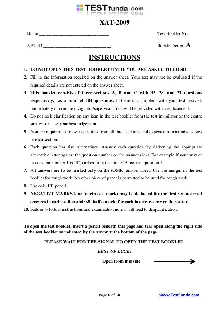 Xat2009 question paper_with_answer_key