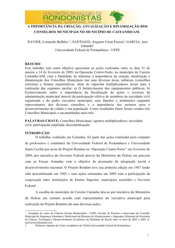 A IMPORTÂNCIA DA CRIAÇÃO, ATUALIZAÇÃO E DINAMIZAÇÃO DOS         CONSELHOS MUNICIPAIS NO MUNICÍPIO DE CASTANHO/AM.      XAV...
