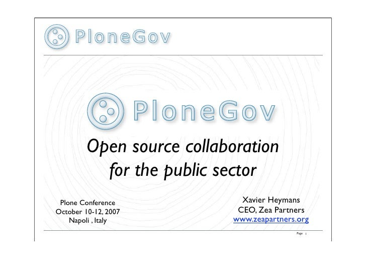 Xavier Heymans   Plone Gov   Plone In The Public Sector. Panel Presenting The Project And Its Potential. Representatives From Local Government To Parliaments Will Present Their Experience, Projects And Tools