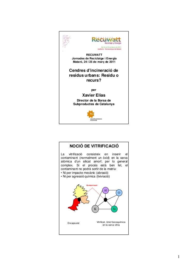 RECUWATT Conference - Xavier Elías lecture