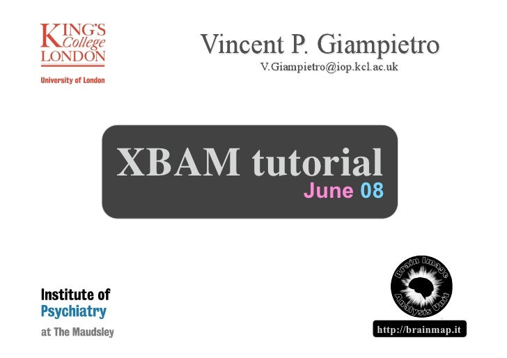 XBAM tutorial          June 08                                 1                http://brainmap.it