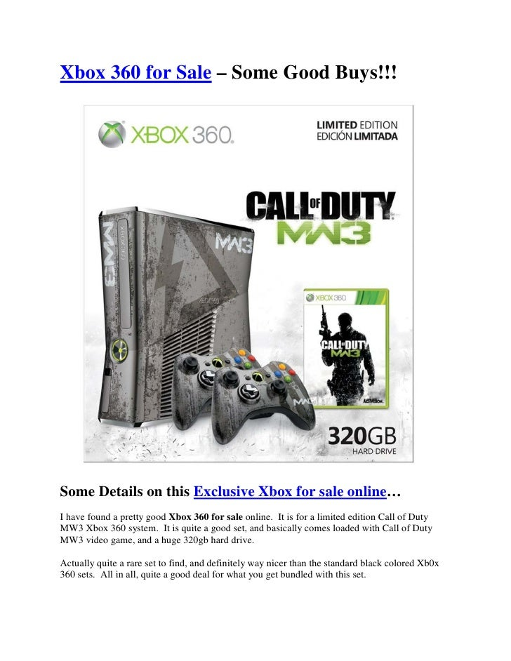 Xbox 360 for Sale – Some Good Buys!!!Some Details on this Exclusive Xbox for sale online…I have found a pretty good Xbox 3...