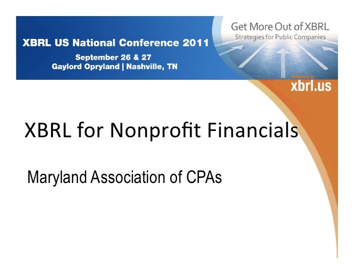 XBRL for Nonprofit Financials  Maryland Association of CPAs