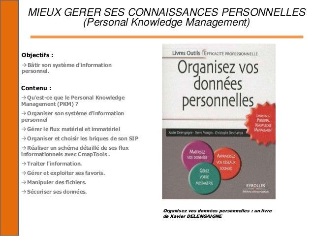 MIEUX GERER SES CONNAISSANCES PERSONNELLES           (Personal Knowledge Management)Objectifs : Bâtir son système dinform...