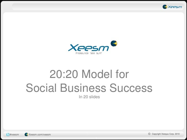 20:20 Model for          Social Business Success                            In 20 slides     #xeesm   Xeesm.com/xeesm     ...