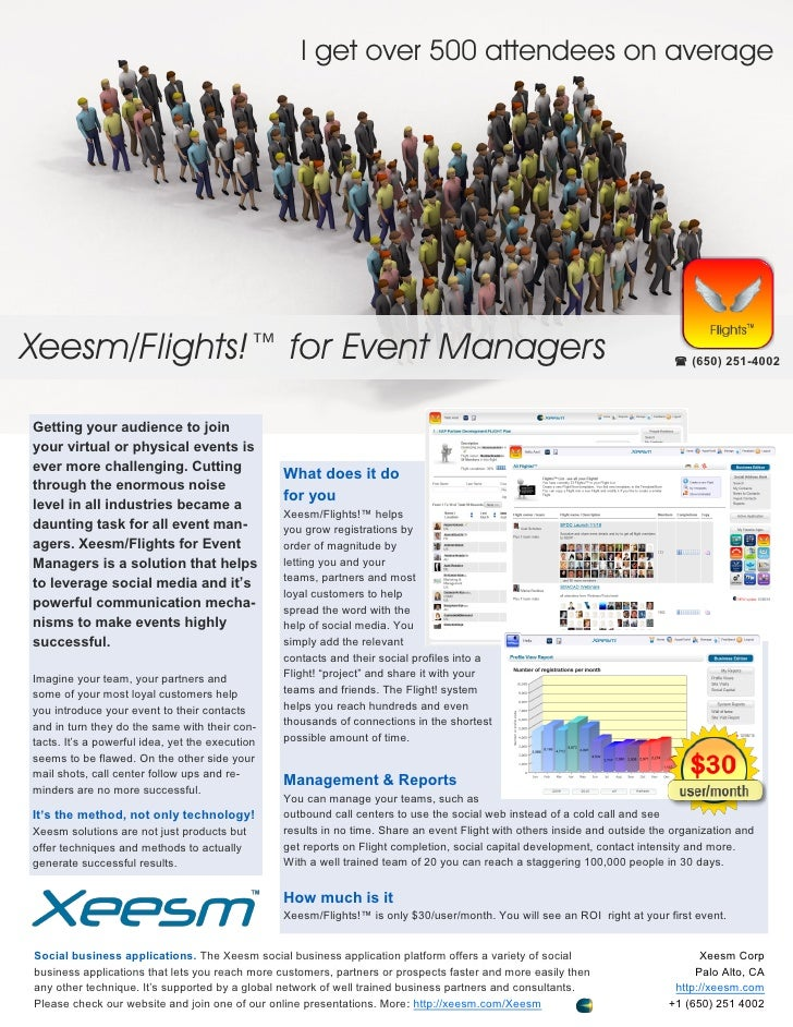 I get over 500 attendees on averageXeesm/Flights!™ for Event Managers                                                     ...