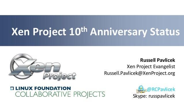 Russell PavlicekXen Project EvangelistRussell.Pavlicek@XenProject.orgXen Project 10th Anniversary Status@RCPavlicekSkype: ...