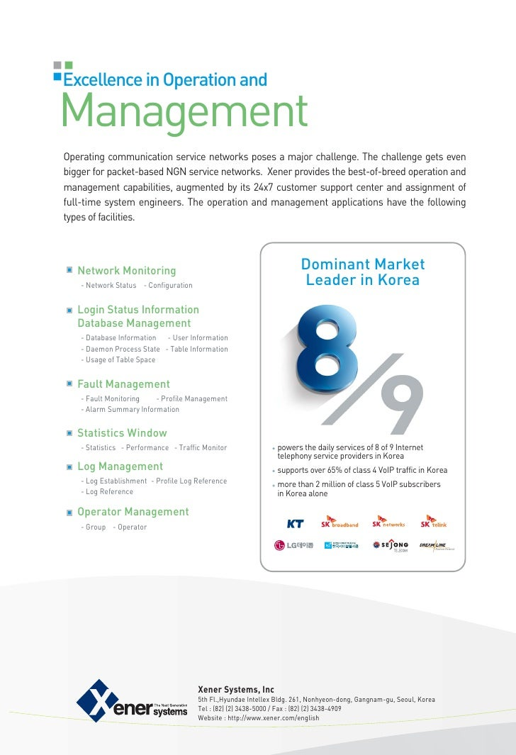 Excellence in Operation andManagementOperating communication service networks poses a major challenge. The challenge gets ...