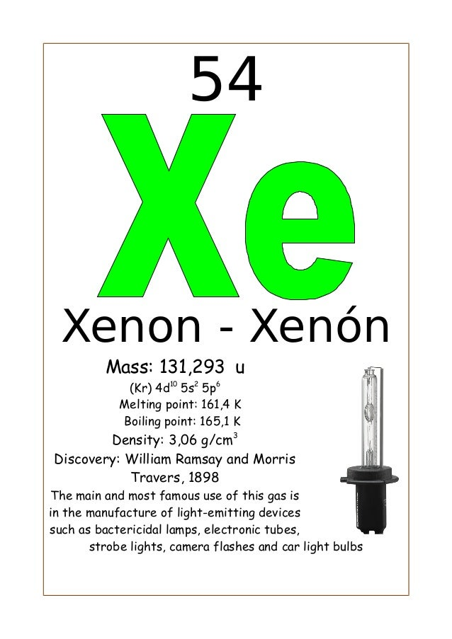 54Xenon - XenónMass: 131,293 u(Kr) 4d105s25p6Melting point: 161,4 KBoiling point: 165,1 KDensity: 3,06 g/cm3Discovery: Wil...