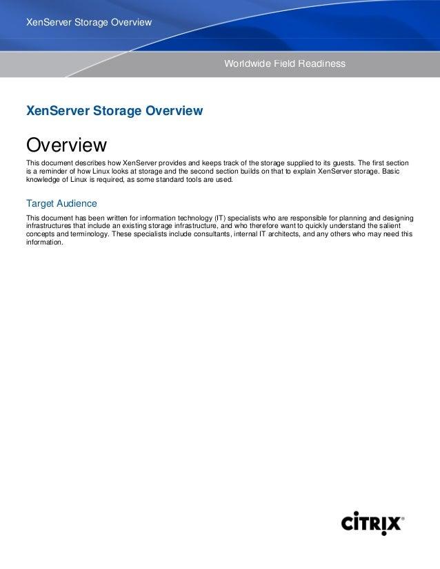 Xen server storage Overview