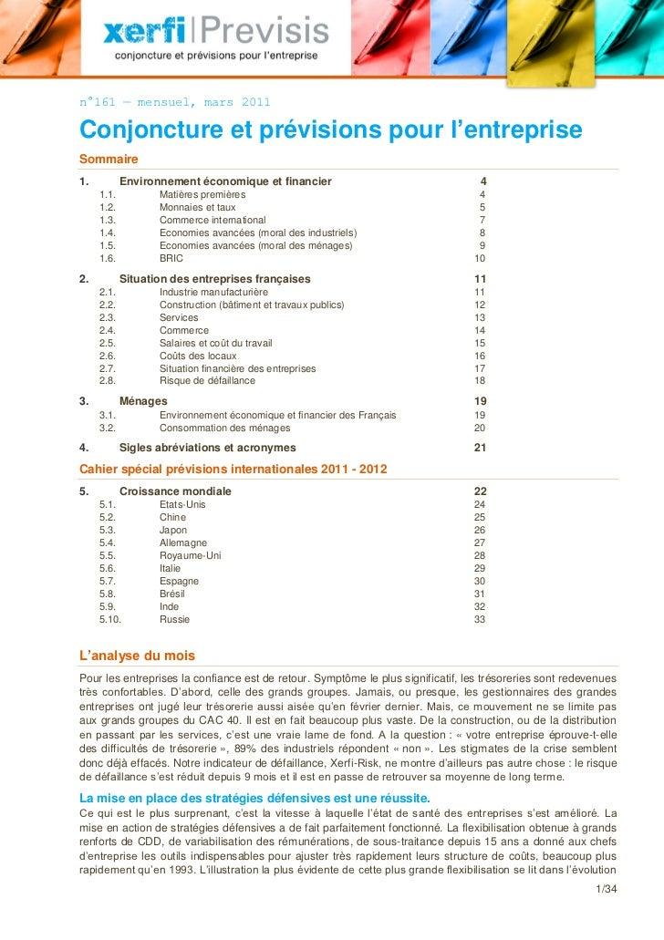 n°161 — mensuel, mars 2011Conjoncture et prévisions pour l'entrepriseSommaire1.          Environnement économique et finan...