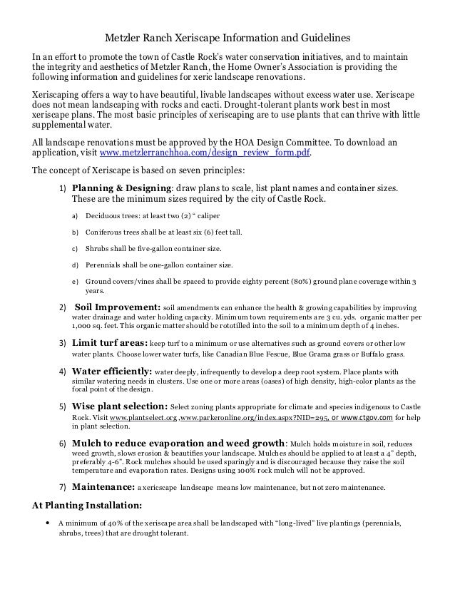 Metzler Ranch Xeriscape Information and Guidelines