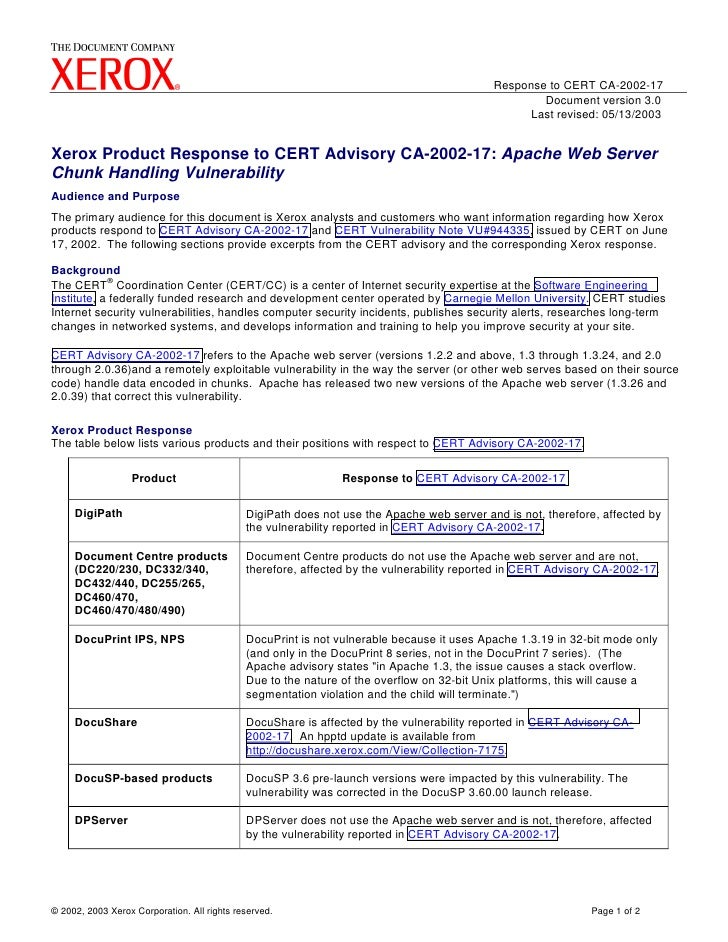 Response to CERT CA-2002-17                                                                                               ...